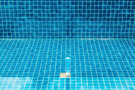Swimming pool resurfacing customer pool, resurfaced with blue glass tile